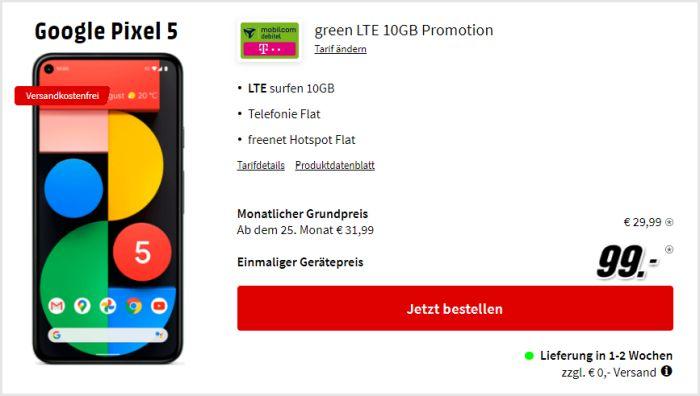 Google Pixel 5 + mobilcom-debitel green LTE (Telekom-Netz) bei MediaMarkt