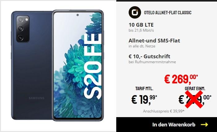 Samsung Galaxy S20 FE + otelo Allnet Flat Classic bei Sparhandy