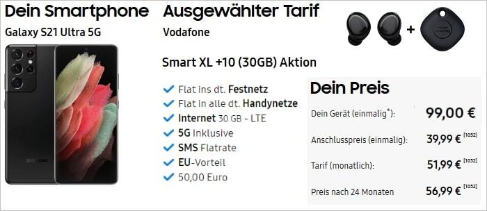 Galaxy S21 Ultra mit Vodafone Smart XL 5G bei Samsung