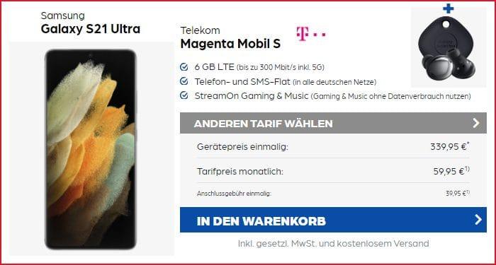 Samsung Galaxy S21 Ultra mit Zugaben zum Telekom MagentaMobil S bei Preisboerse24