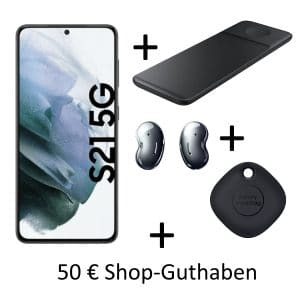 Samsung Galaxy S21 + Wireless Charger Trio Pad + Galaxy Buds Live + SmartTag + 50 € Shopguthaben + md green LTE 40 GB bei MediaMarkt