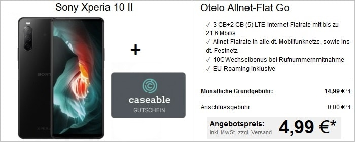otelo Allnet Flat Go mit Sony Xperia 10 II und 25 € caseable-Gutschein bei LogiTel