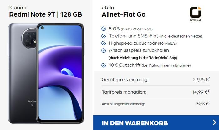 Xiaomi Redmi Note 9T 5G + otelo Allnet Flat Go bei Preisboerse24