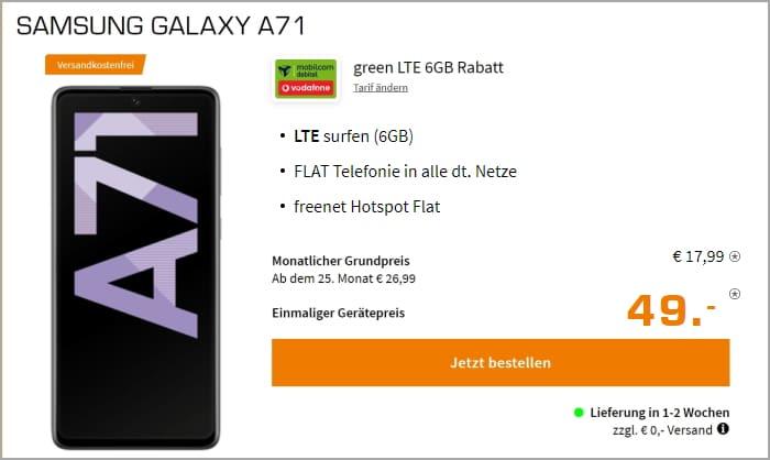 Galaxy A71 + green LTE 6 GB LTE Vodafone