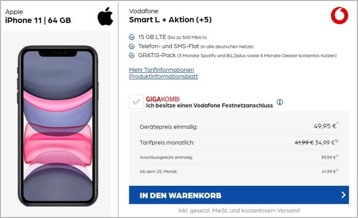 iPhone 11 mit Vodafone Smart L Plus