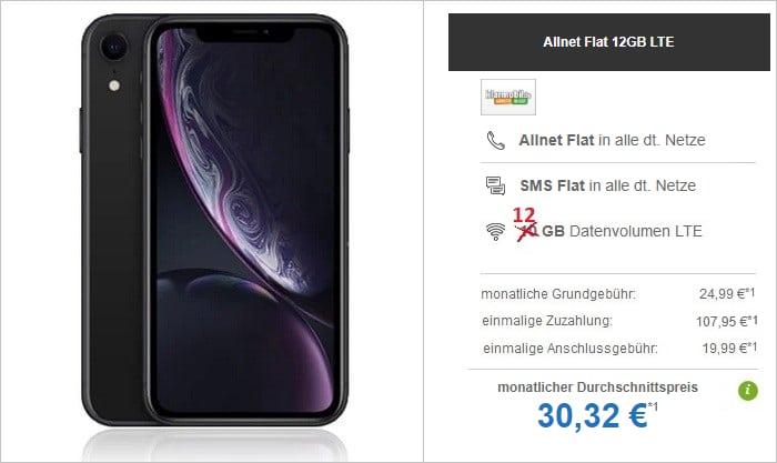 Apple iPhone Xr mit klarmobil Allnet Flat und 12 GB LTE im Vodafone-Netz bei modeo