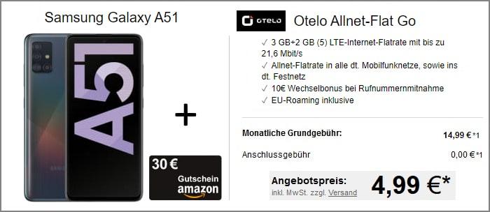 Samsung Galaxy A51 + otelo Allnet Flat Go bei LogiTel