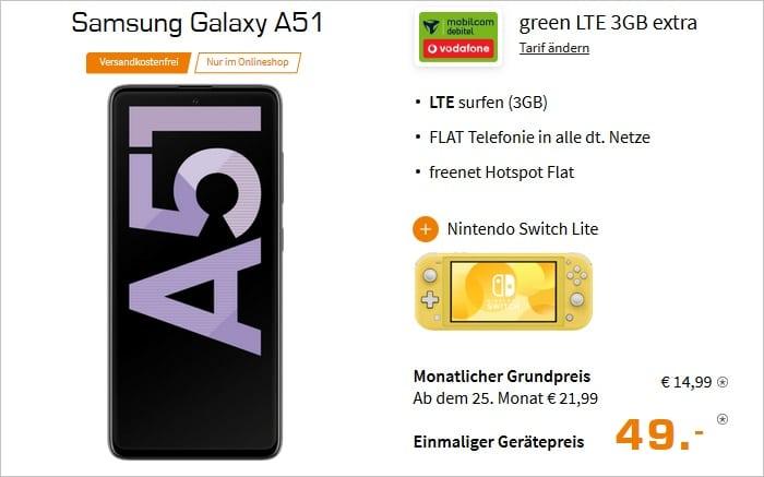 Samsung Galaxy A51 + Nintendo Switch Lite zum md green LTE 3 GB im Vodafone-Netz bei Saturn
