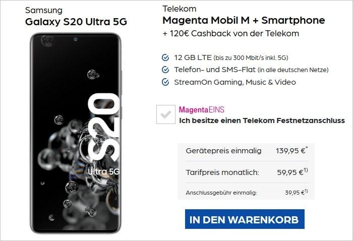 Samsung Galaxy S20 Ultra 5G mit Cashback zum Telekom MagentaMobil M bei Preisboerse24