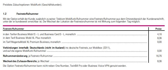 Preisliste für Option Festnetz-Nummer bei der Deutschen Telekom
