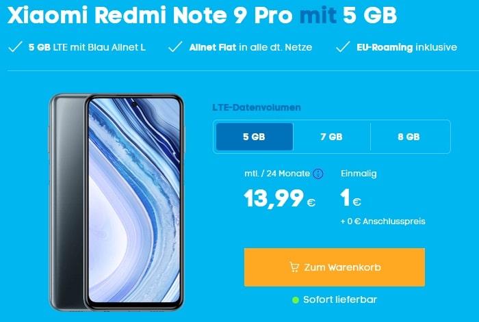 Xiaomi Redmi Note 9 Pro mit Blau Allnet L 5 GB LTE bei Blau