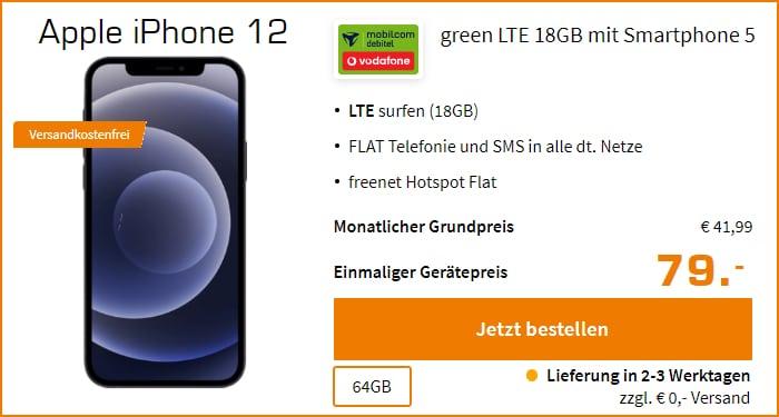 Apple iPhone 12 mit mobilcom-debitel Vodafone green LTE 18 GB bei Saturn