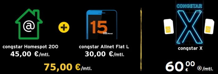 congstar X: 200 GB Telekom-LTE für das Smartphone und zuhause nur 60 € mtl.