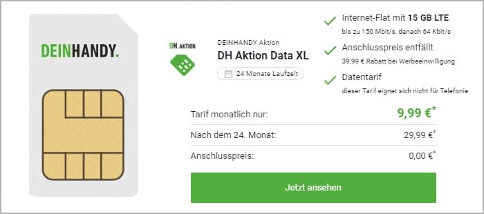 green Data Xl mit 15 GB LTE im Telekom-Netz bei DeinHandy