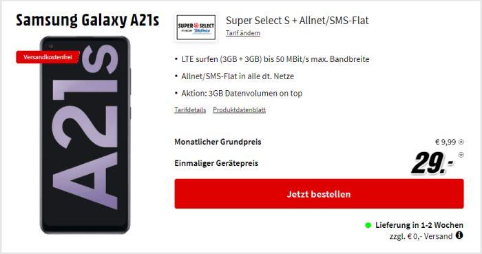 Samsung Galaxy A21s mit Super Select bei MediaMarkt