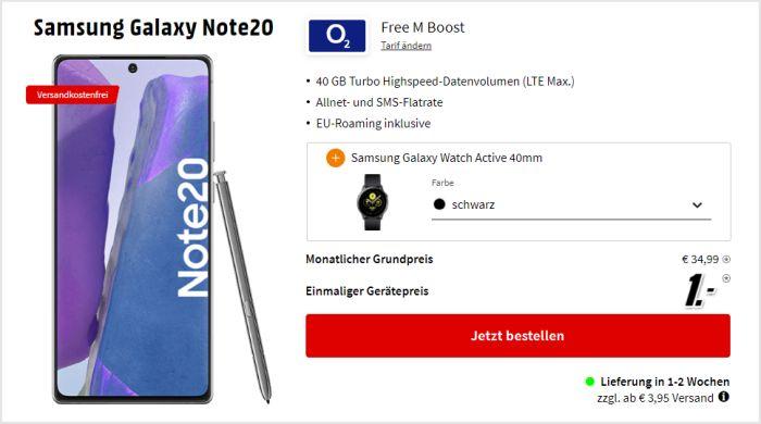 Samsung Galaxy Note 20 + Samsung Galaxy Watch Actove2 + o2 Free M Boost bei MediaMarkt