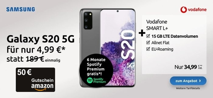 Samsung Galaxy S20 5G + Vodafone Smart L Plus bei LogiTel mit Amazon Gutschein