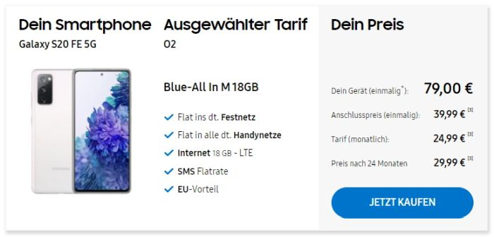 Samsung Galaxy S20 FE 5G + o2 Blue All-In M im Samsung Online Shop