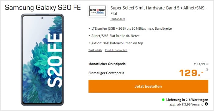 Samsung Galaxy S20 FE + Saturn Super Select S im Telefónica-Netz