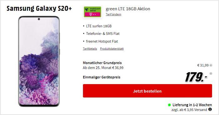 Samsung Galaxy S20 Plus zum mobilcom-debitel green LTE (Telekom-Netz) bei Saturn