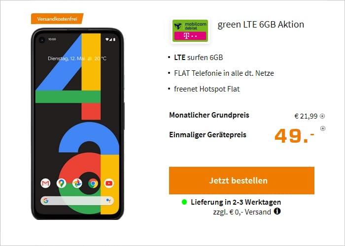 Google Pixel 4a zum mobilcom-debitel Telekom green LTE 6 GB bei Saturn