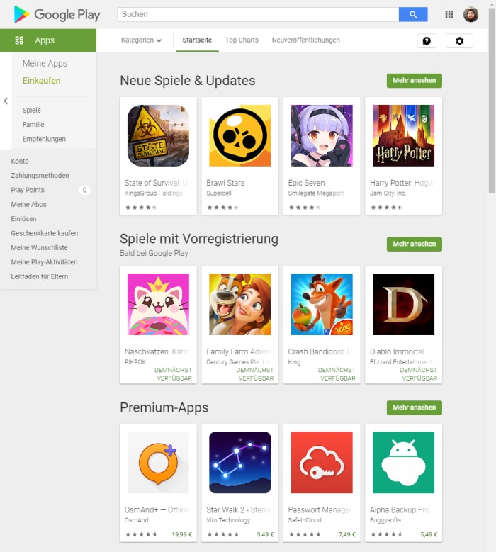 Google Play Store im Browser