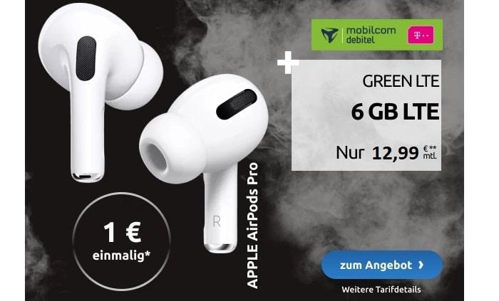 green LTE Telekom 6 GB mit AirPods Pro bei LogiTel