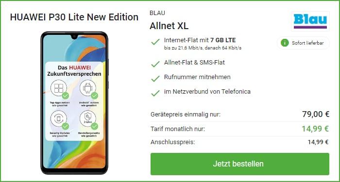 Huawei P30 Lite (New Edition) + Blau Allnet Flat XL bei DeinHandy