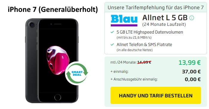 iPhone 7 als B-Ware mit Blau Allnet L bei Curved