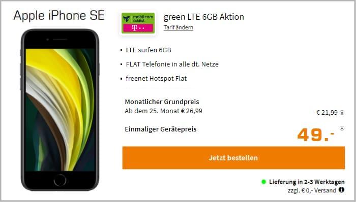 iPhone SE 2020 mit mobilcom-debitel green LTE (Telekom-Netz) bei Saturn