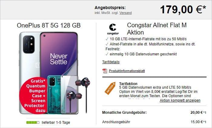 OnePlus 8T + OnePlus Bullets + Bumper Case + Screen Protector + congstar Allnet Flat M bei LogiTel