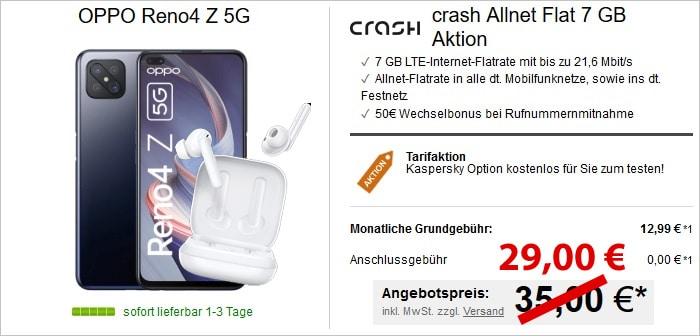 Oppo Reno4 Z 5G + crash 7 GB LTE + Allnet-Flat im Vodafone-Netz