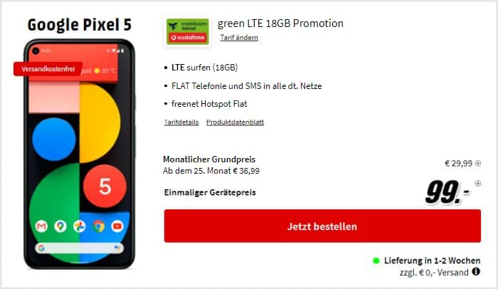 Google Pixel 5 + mobilcom-debitel green LTE (Vodafone-Netz) bei MediaMarkt