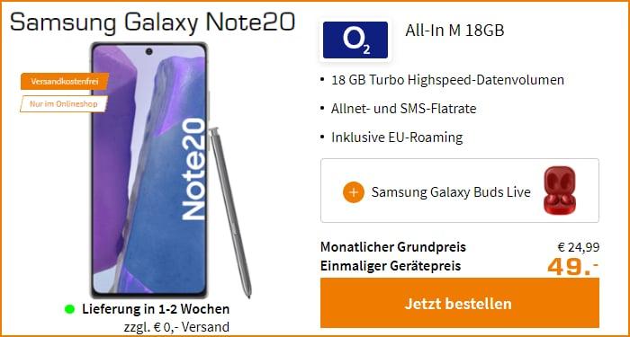 Samsung Galaxy Note 20 mit Galaxy Buds Live zum o2 All-In M bei Saturn