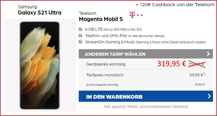 Samsung Galaxy S21 Ultra zum Telekom MagentaMobil S bei Preisboerse24
