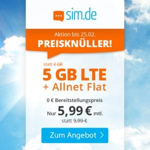 sim.de LTE All 4 GB Aktion Februar 2021 Thumbnail