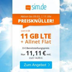 sim.de LTE All 8 GB Aktion März 2021 Thumbnail