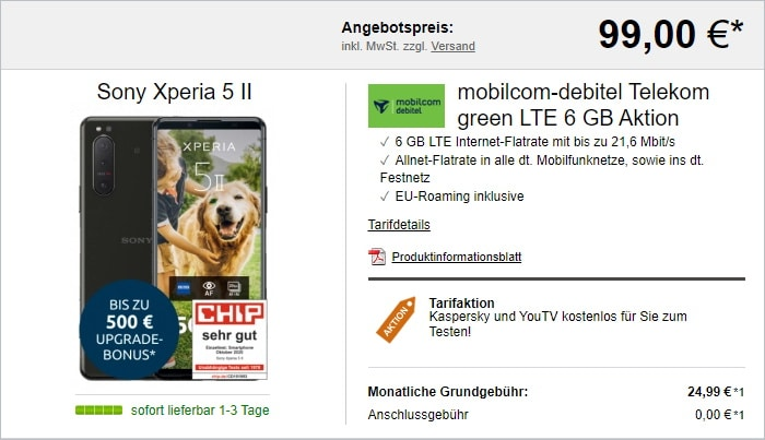 Sony Xperia 5 II + mobilcom-debitel green LTE (Telekom-Netz) bei LogiTel