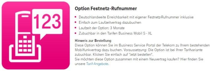 Option Festnetz-Rufnummer bei der Deutschen Telekom