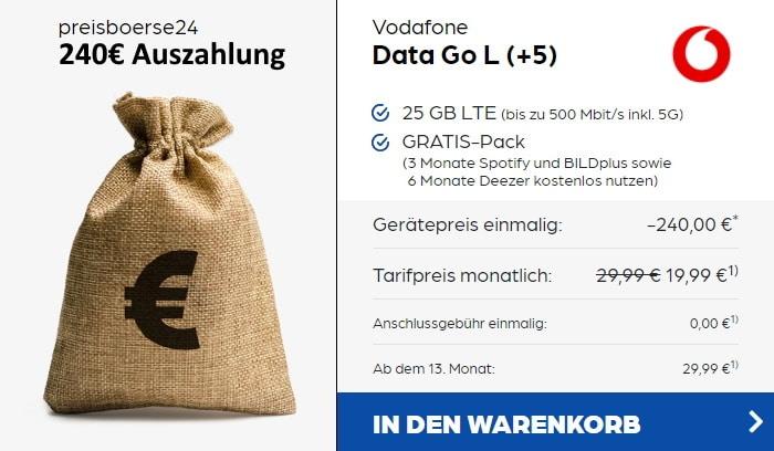 Vodafone DataGo L mit 240 Euro Cashback bei Preisboerse24