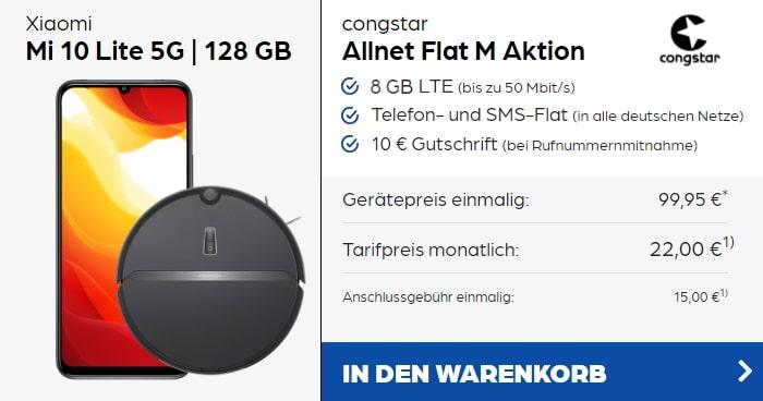 Xiaomi Mi 10 Lite 5G + Xiaomi Roborock E4 + congstar Allnet Flat M bei Preisboerse24