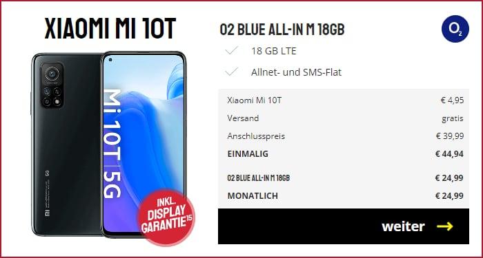 Xiaomi Mi 10T mit o2 Blue All-In M bei Sparhandy