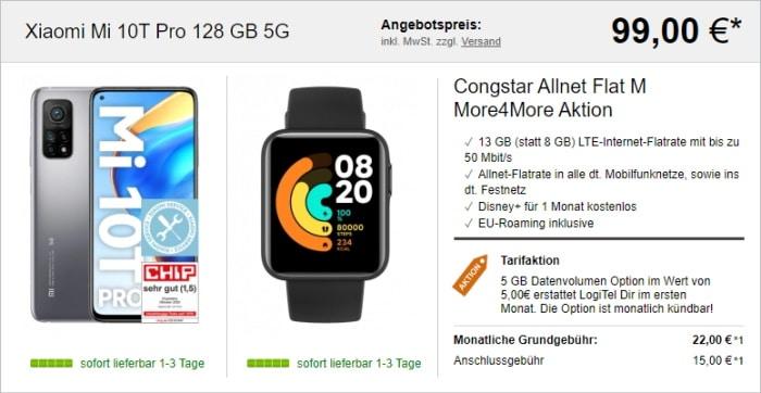 Xiaomi Mi 10T Pro + Xiaomi Mi Watch Lite + congstar Allnet Flat M (More4More) bei LogiTel