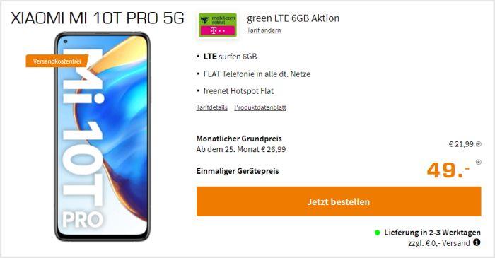Xiaomi Mi 10T Pro + mobilcom-debitel green LTE (Telekom-Netz) bei Saturn