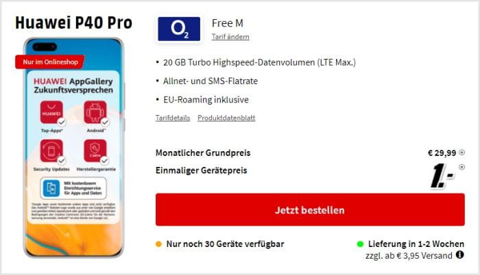 Huawei P40 Pro mit Vertrag o2 Free M bei MediaMarkt