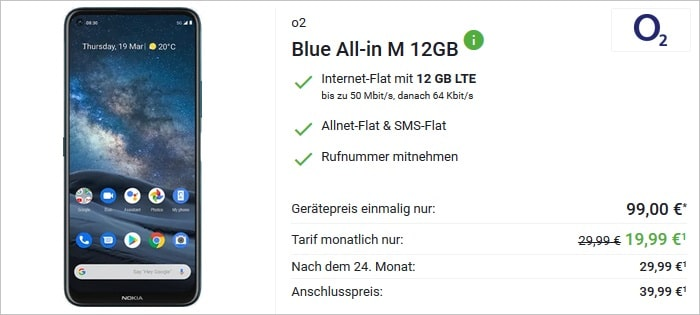 Nokia 8.3 5G (Blue, 128GB) mit o2-Vertrag bei Sparhandy