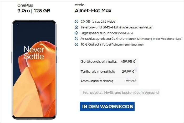 OnePlus 9 Pro mit otelo Allnet-Flat Max bei Preisboerse24 N