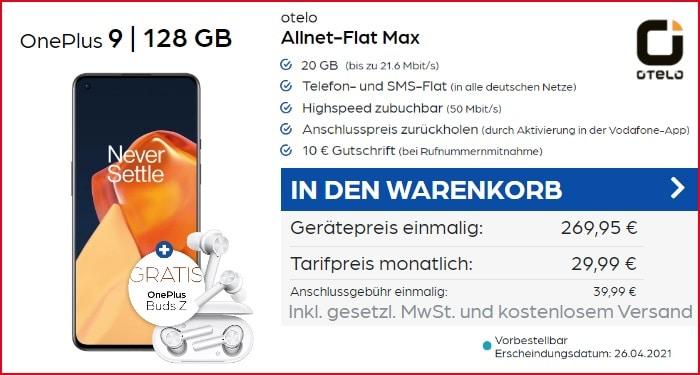 OnePlus 9 + Buds Z zur otelo Allnet Flat Max bei PB24 20 GB