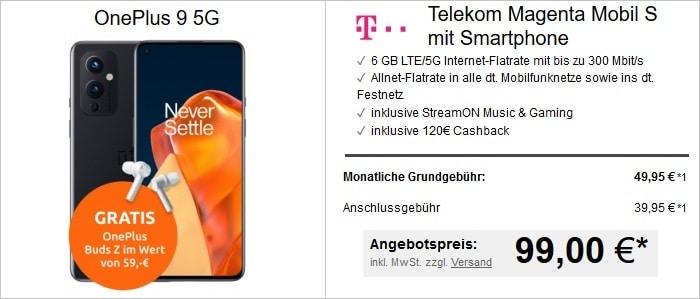 OnePlus 9 mit In Ears zum Telekom Magentamobil S bei LogiTel