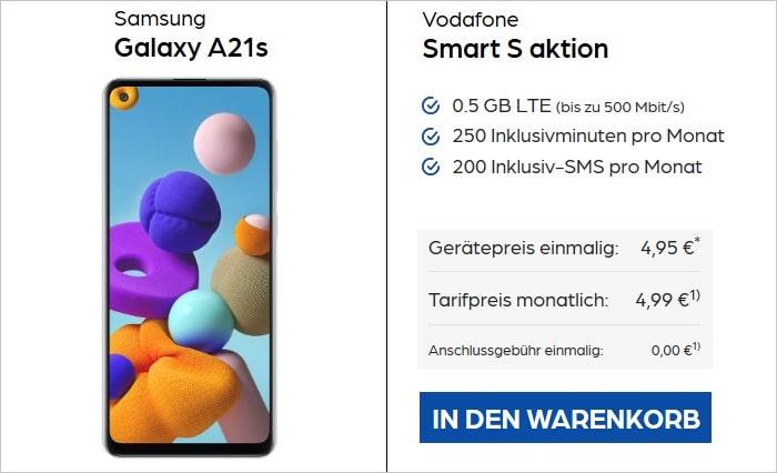 Samsung Galaxy A21s mit Vodafone Smart S bei Preisboerse24